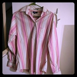 Faconnable Pink and Tank Button Down Sz Med